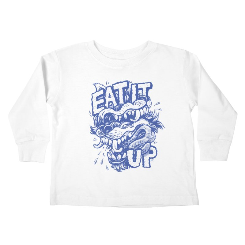 Eat It Up (Blue) Kids Toddler Longsleeve T-Shirt by Max Marcil Design & Illustration Shop
