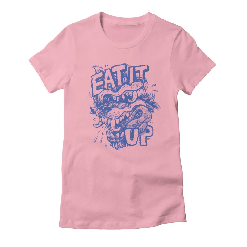 Eat It Up (Blue) Women's Fitted T-Shirt by Max Marcil Design & Illustration Shop