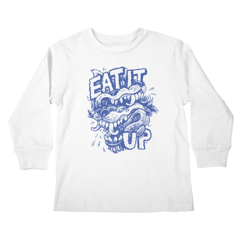 Eat It Up (Blue) Kids Longsleeve T-Shirt by Max Marcil Design & Illustration Shop
