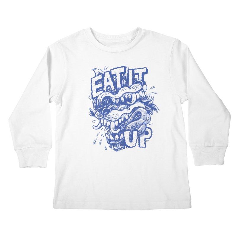 Eat It Up (Blue) Kids Longsleeve T-Shirt by Max Marcil Design & Illustration Shop