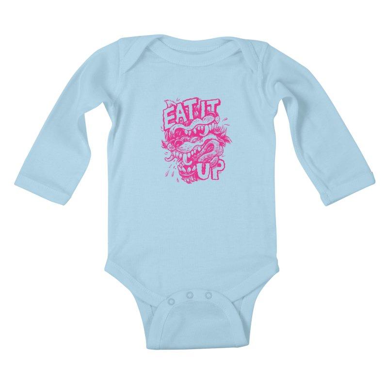 Eat It Up (PINK) Kids Baby Longsleeve Bodysuit by Max Marcil Shop