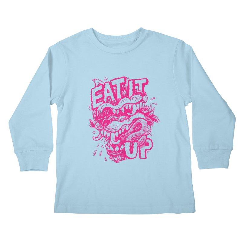 Eat It Up (PINK) Kids Longsleeve T-Shirt by Max Marcil Shop