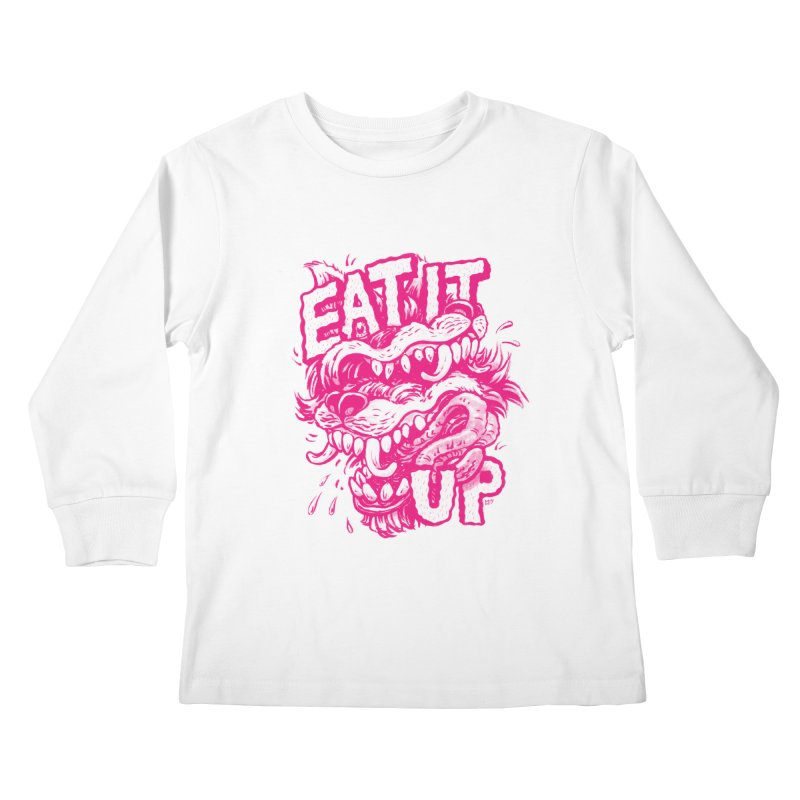 Eat It Up (PINK) Kids Longsleeve T-Shirt by Max Marcil Shop
