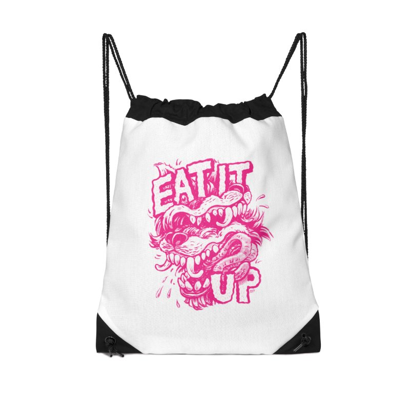 Eat It Up (PINK) Accessories Drawstring Bag Bag by Max Marcil Shop