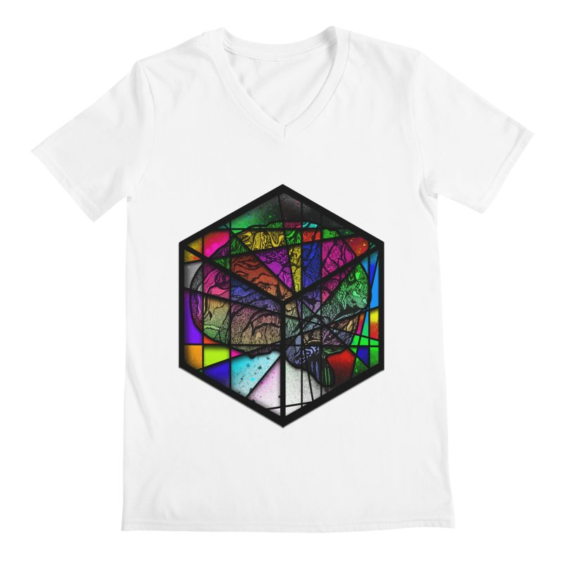 Brain Cube Men's V-Neck by MCGILSKY DESIGN SHOP