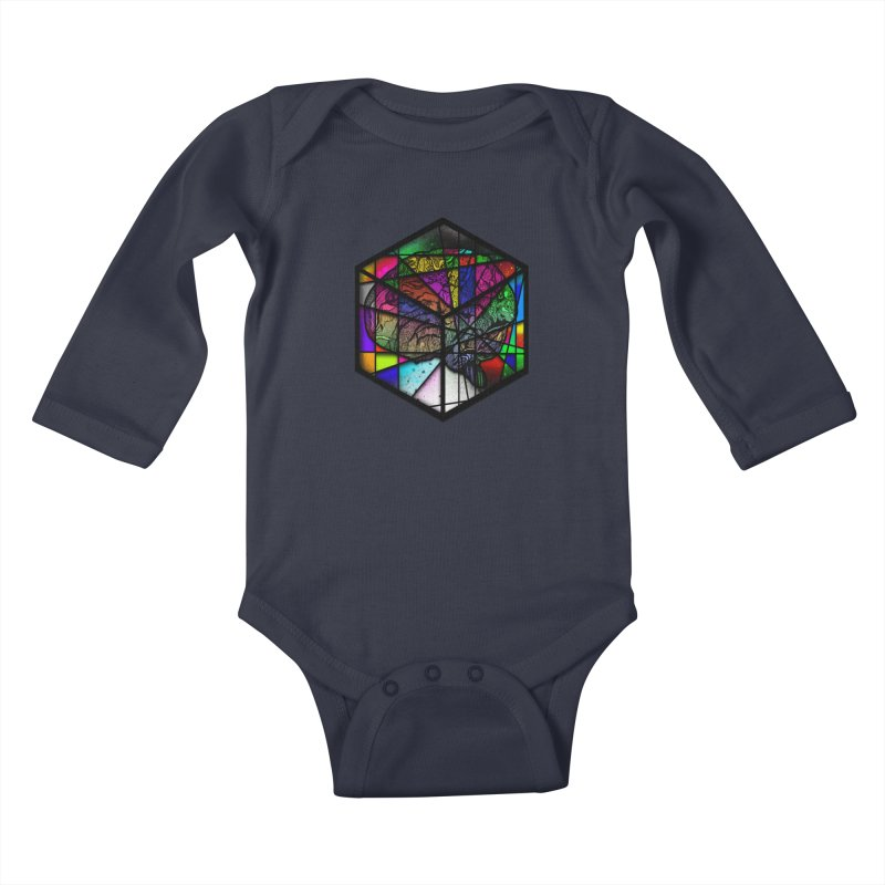 Brain Cube Kids Baby Longsleeve Bodysuit by MCGILSKY DESIGN SHOP
