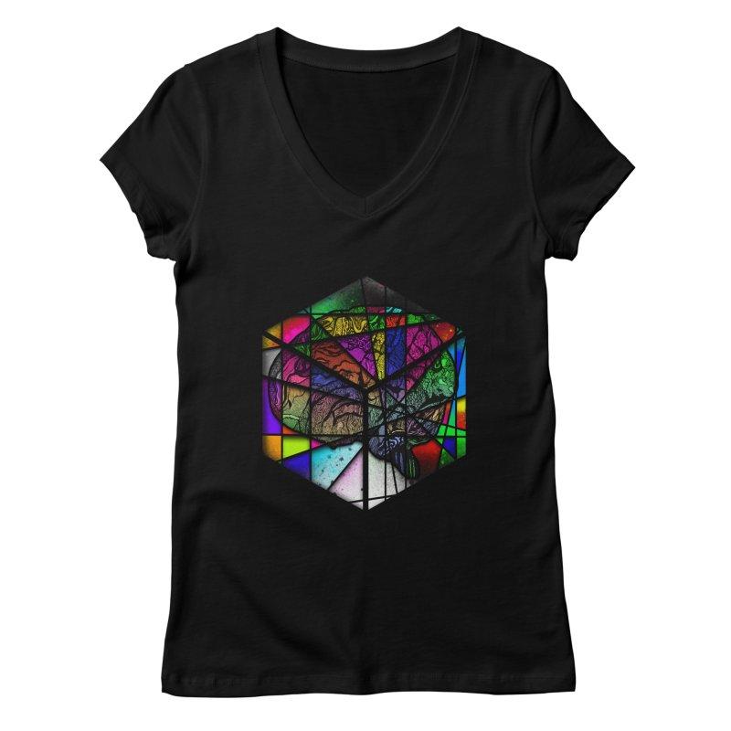 Brain Cube Women's V-Neck by MCGILSKY DESIGN SHOP