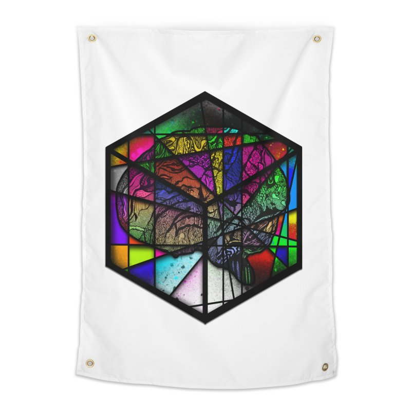 Brain Cube Home Tapestry by MCGILSKY DESIGN SHOP