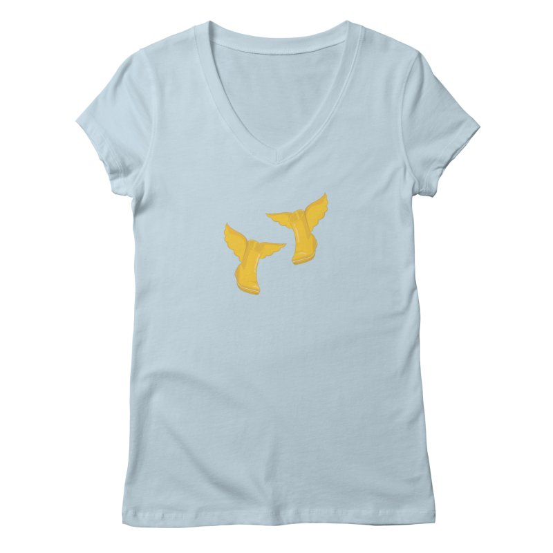 Wellyboots with Wings x 2 Women's Regular V-Neck by Mee And The Band