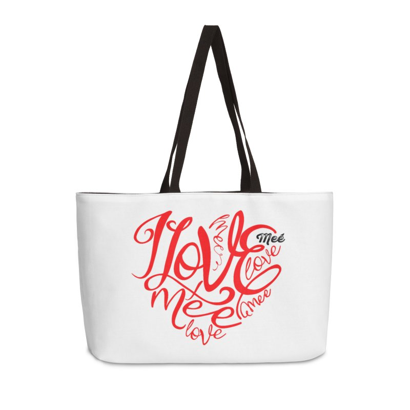 I Love Mee Swirly Heart Accessories Weekender Bag Bag by Mee And The Band