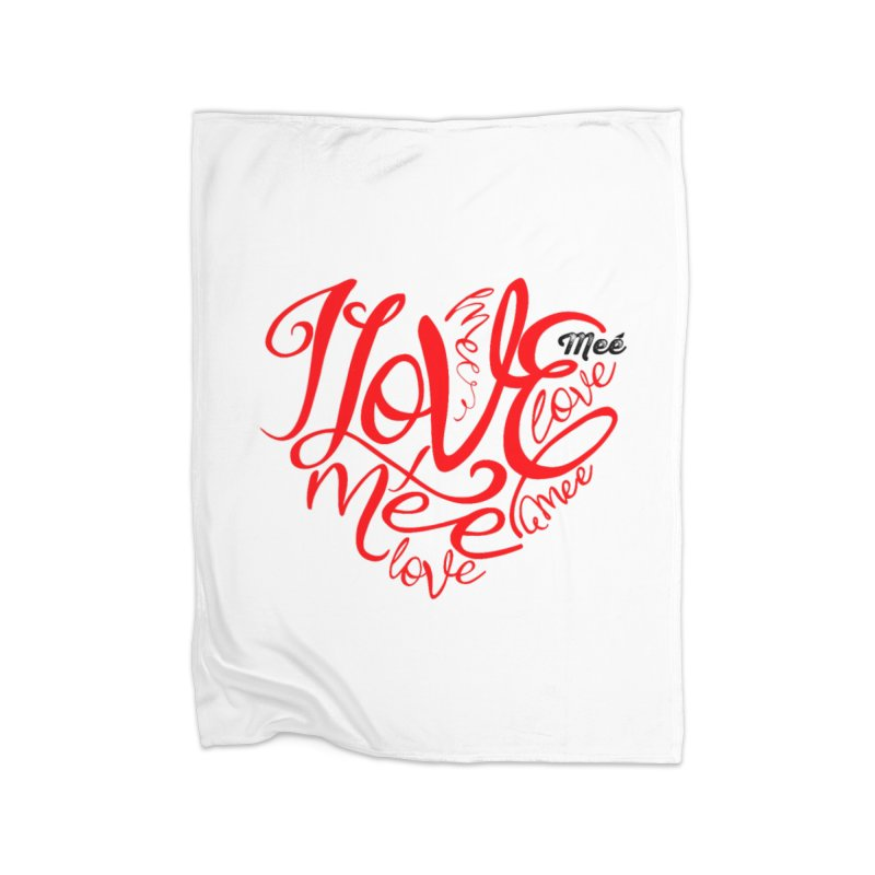 I Love Mee Swirly Heart Home Fleece Blanket Blanket by Mee And The Band