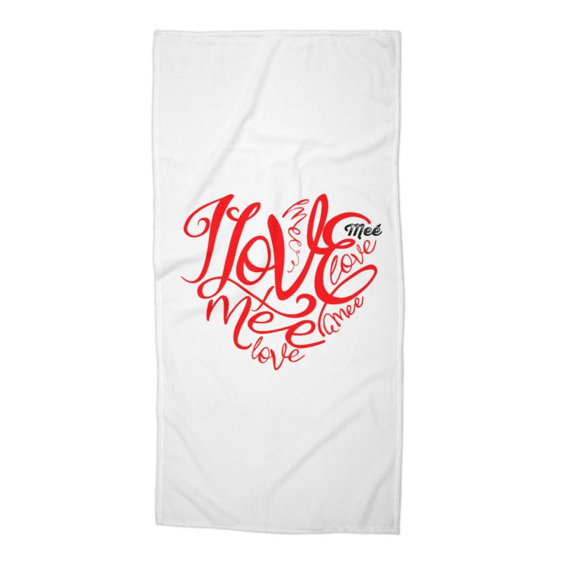 I Love Mee Swirly Heart Accessories Beach Towel by Mee And The Band