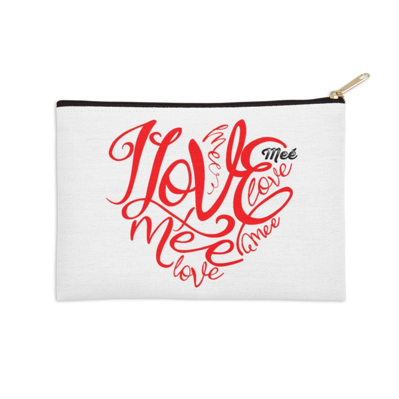 I Love Mee Swirly Heart Accessories Zip Pouch by Mee And The Band