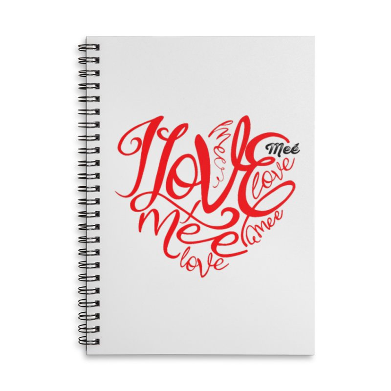 I Love Mee Swirly Heart Accessories Lined Spiral Notebook by Mee And The Band