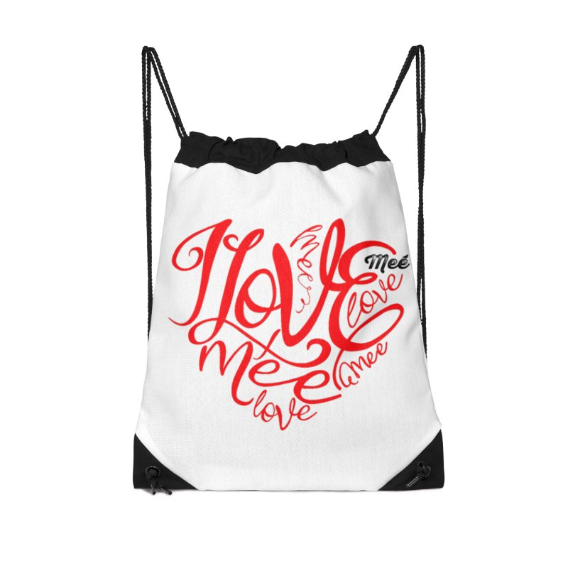 I Love Mee Swirly Heart Accessories Drawstring Bag Bag by Mee And The Band