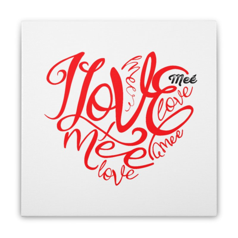 I Love Mee Swirly Heart Home Stretched Canvas by Mee And The Band