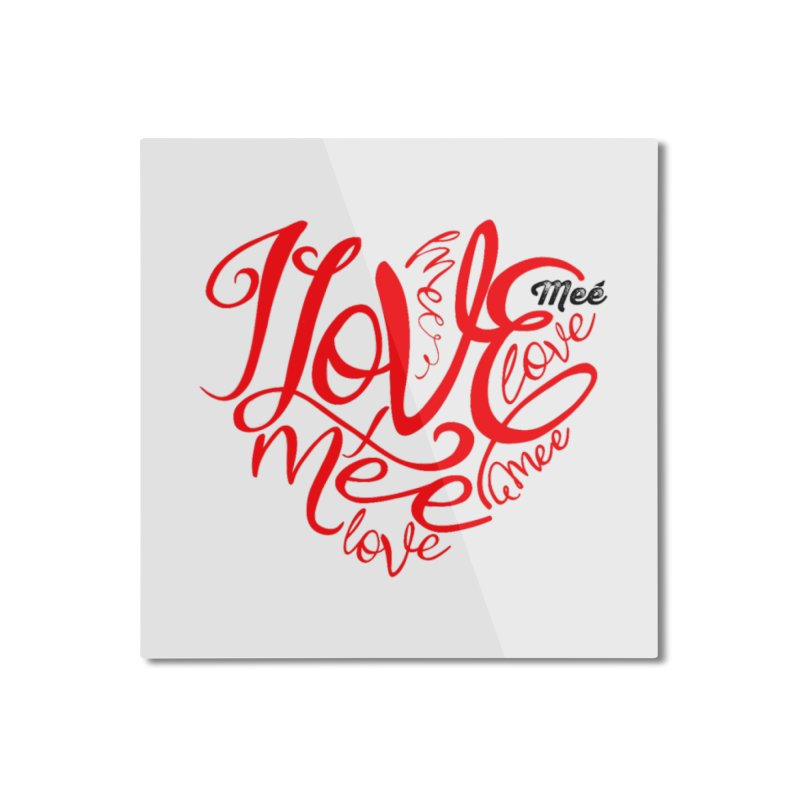 I Love Mee Swirly Heart Home Mounted Aluminum Print by Mee And The Band