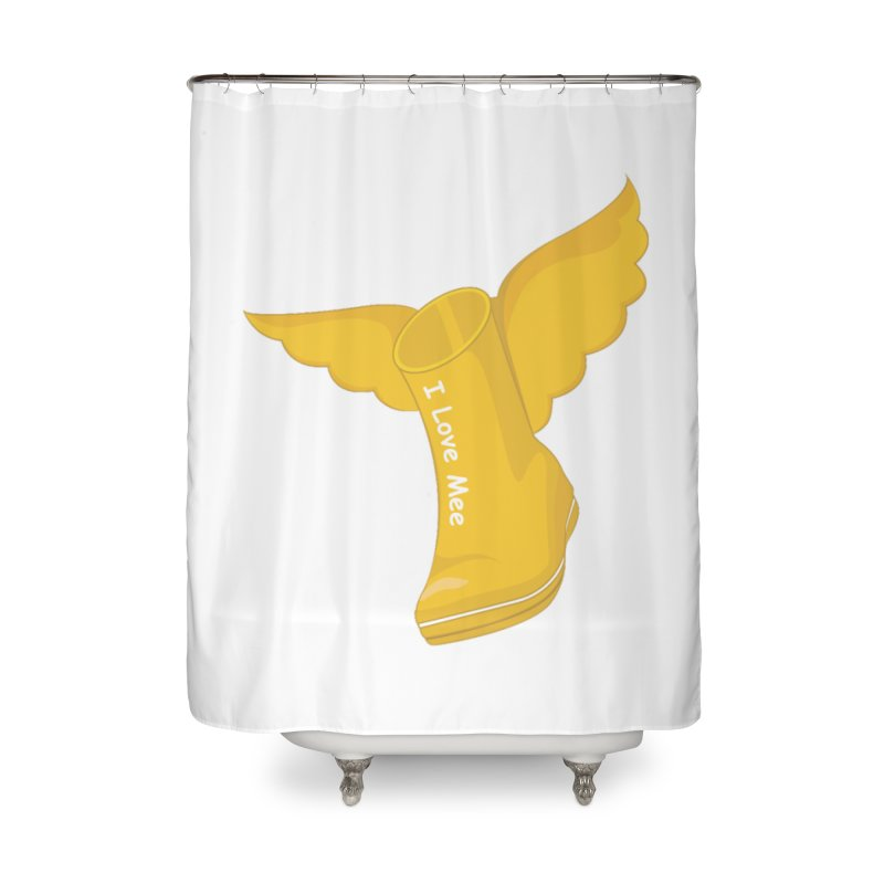 I love Mee Flying WellyBoot Home Shower Curtain by Mee And The Band