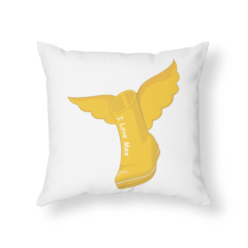 I love Mee Flying WellyBoot Home Throw Pillow by Mee And The Band