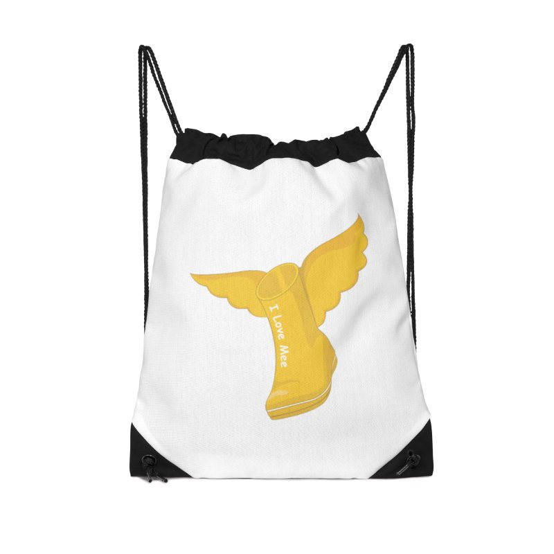 I love Mee Flying WellyBoot Accessories Drawstring Bag Bag by Mee And The Band