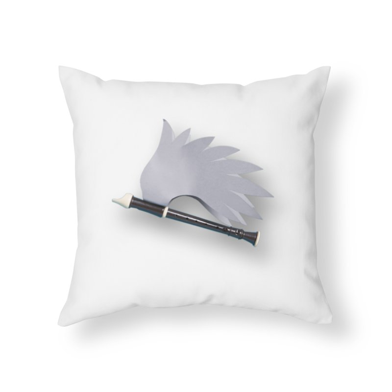 Flying Recorder Home Throw Pillow by Mee And The Band