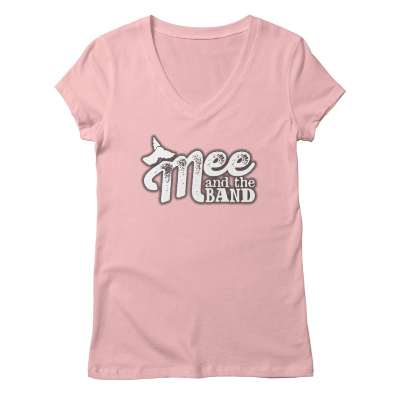 Mee And The Band Logo with shadow in Women's Regular V-Neck Pink by Mee And The Band