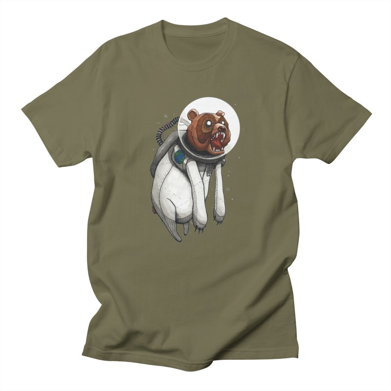 Space Bear in Men's Regular T-Shirt Olive by VonCricket