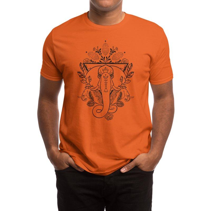 Elephant LineWork Men's T-Shirt by Meghan's Art Memories