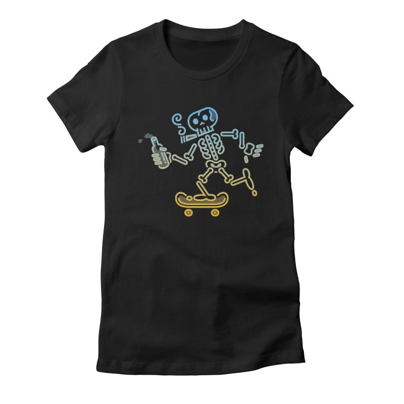 Skelly Blue Orange Women's Fitted T-Shirt by ME&MO Design