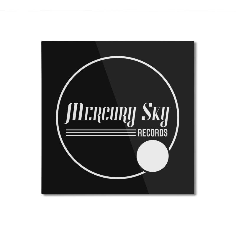 MERCURY SKY RECORDS WHITE Home Mounted Aluminum Print by MercurySkyRecords's Artist Shop