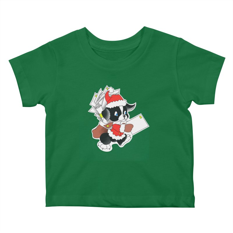 Santa puppy Kids Baby T-Shirt by Meridian Tattoo Shop