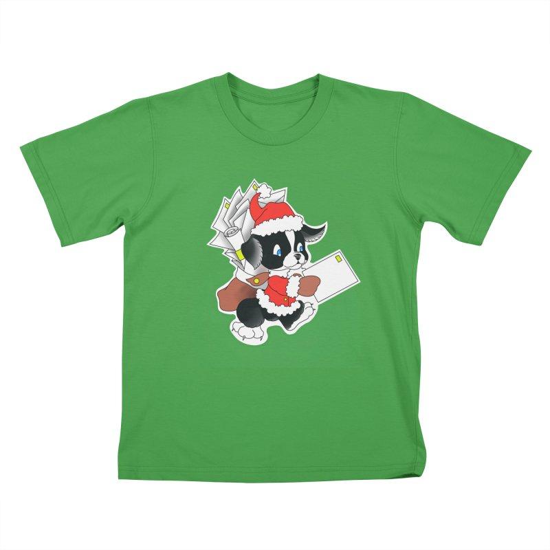 Santa puppy Kids T-Shirt by Meridian Tattoo Shop