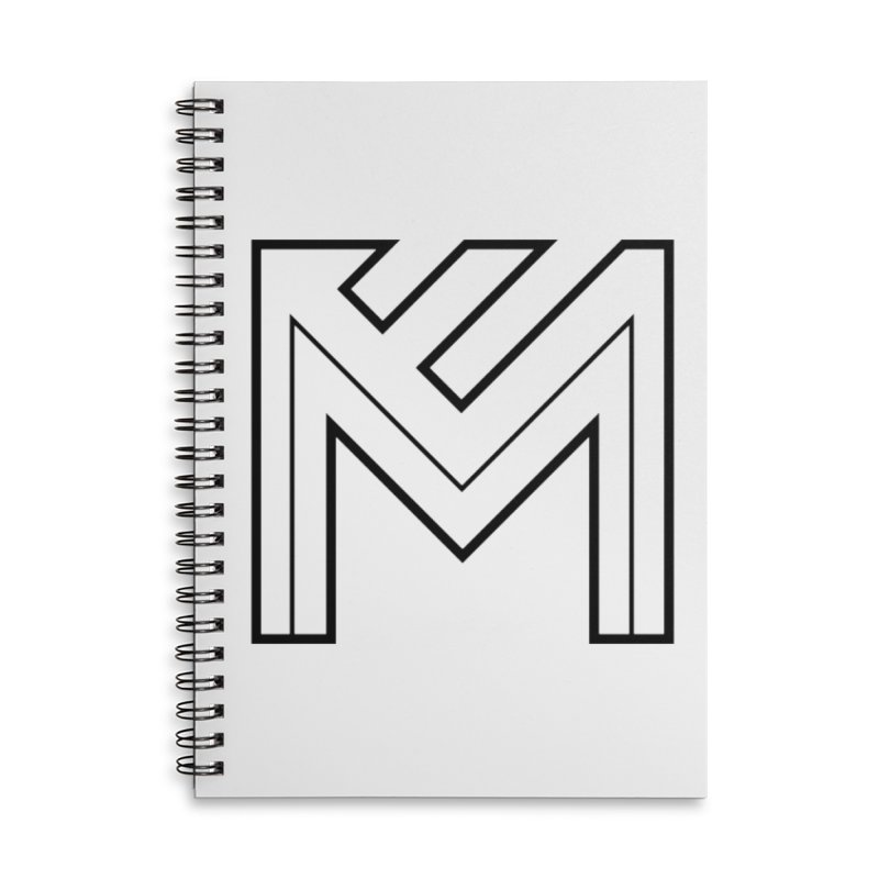 Black on White Logo Accessories Lined Spiral Notebook by MerlotEmbargo's Artist Shop