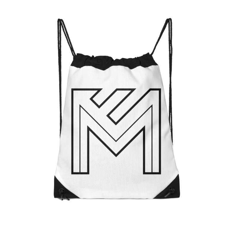 Black on White Logo Accessories Drawstring Bag Bag by MerlotEmbargo's Artist Shop