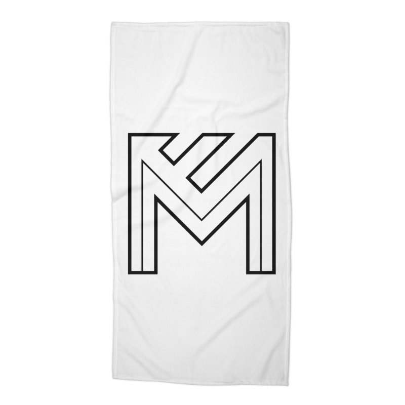 Black on White Logo Accessories Beach Towel by MerlotEmbargo's Artist Shop
