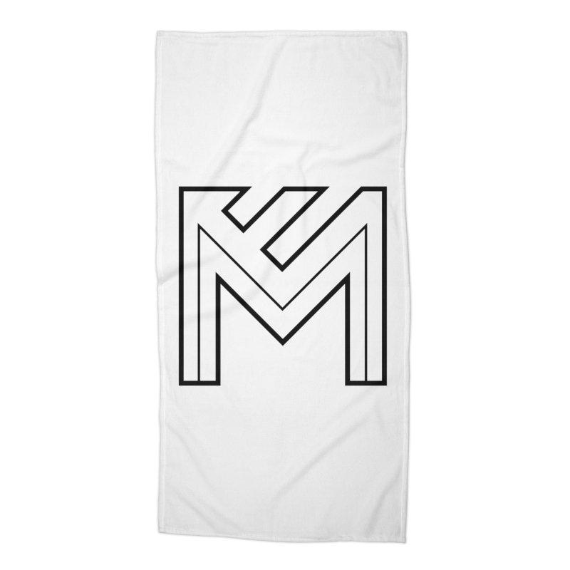 Black on White Logo Accessories Beach Towel by MerlotEmbargo's Artist Shop