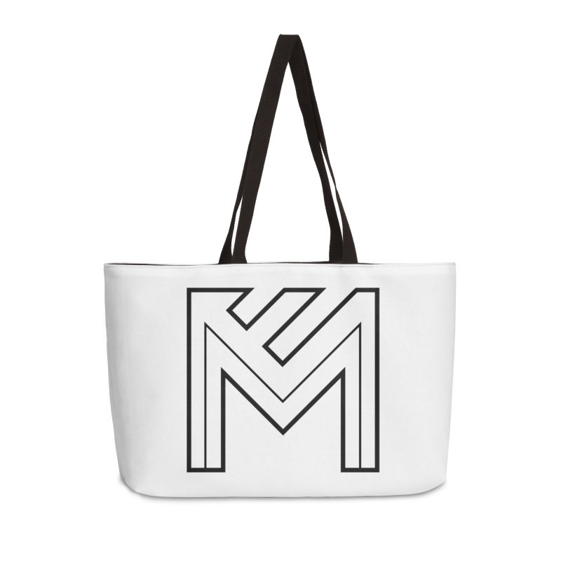 Black on White Logo Accessories Weekender Bag Bag by MerlotEmbargo's Artist Shop
