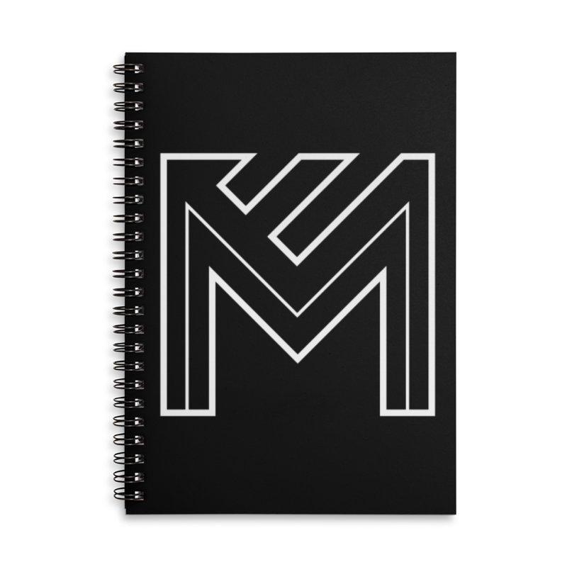White on Black Merlot Embargo Logo Accessories Lined Spiral Notebook by MerlotEmbargo's Artist Shop