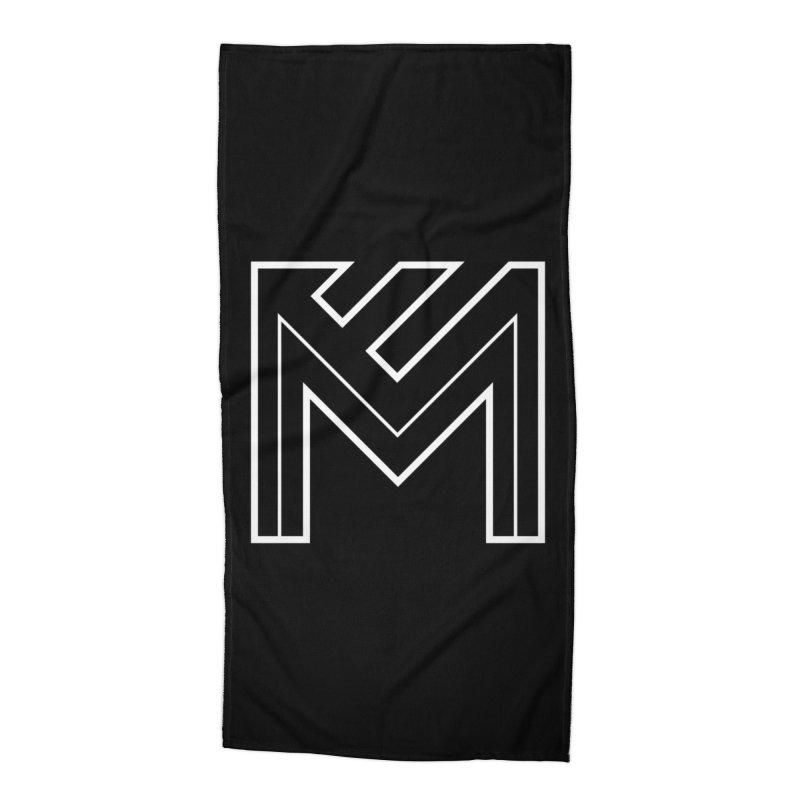 White on Black Merlot Embargo Logo Accessories Beach Towel by MerlotEmbargo's Artist Shop