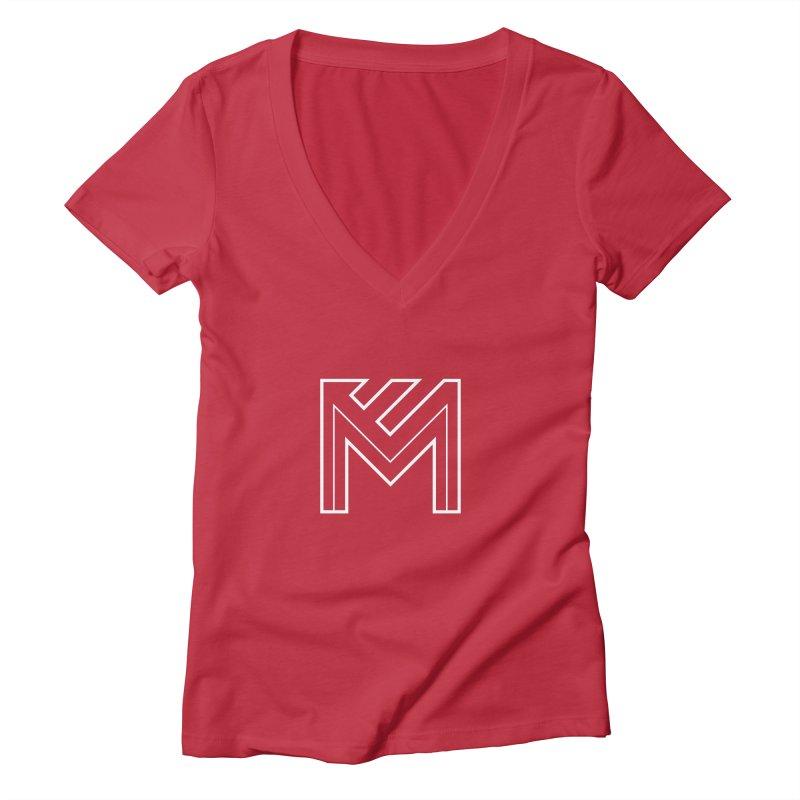White on Black Merlot Embargo Logo Women's Deep V-Neck V-Neck by MerlotEmbargo's Artist Shop