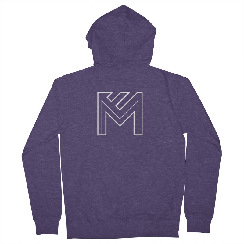 White on Black Merlot Embargo Logo Men's French Terry Zip-Up Hoody by MerlotEmbargo's Artist Shop