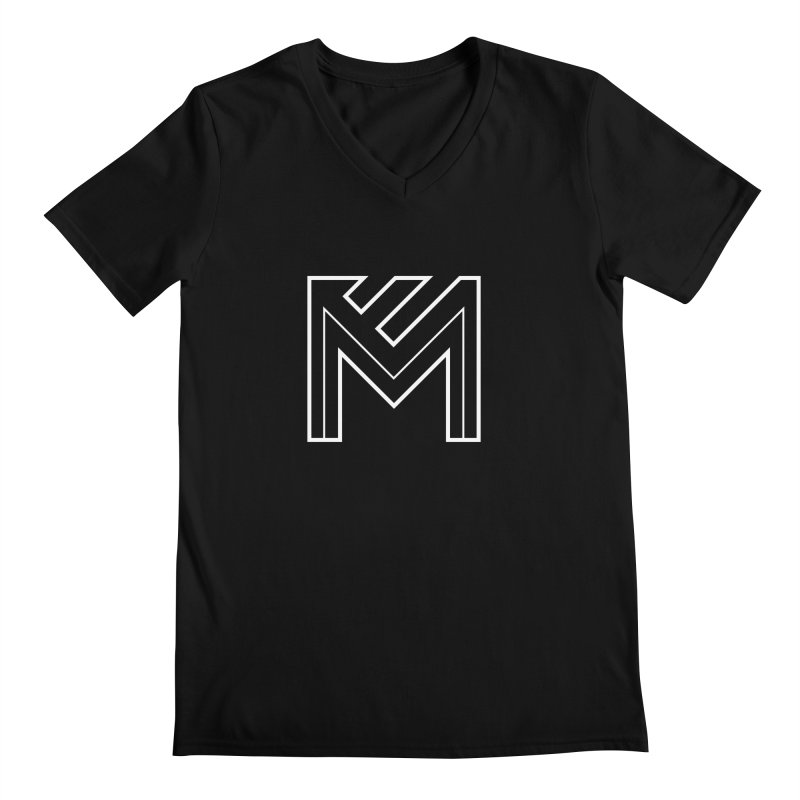 White on Black Merlot Embargo Logo Men's V-Neck by MerlotEmbargo's Artist Shop