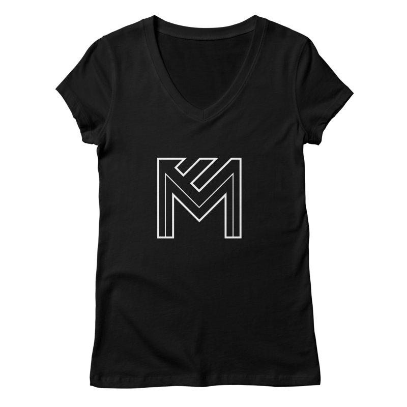White on Black Merlot Embargo Logo Women's V-Neck by MerlotEmbargo's Artist Shop