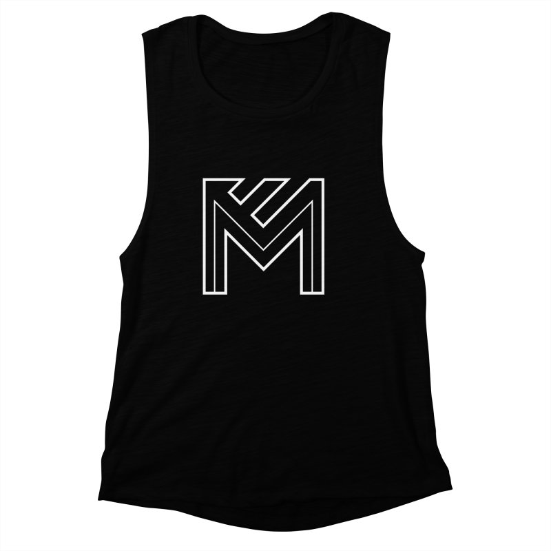 White on Black Merlot Embargo Logo Women's Muscle Tank by MerlotEmbargo's Artist Shop