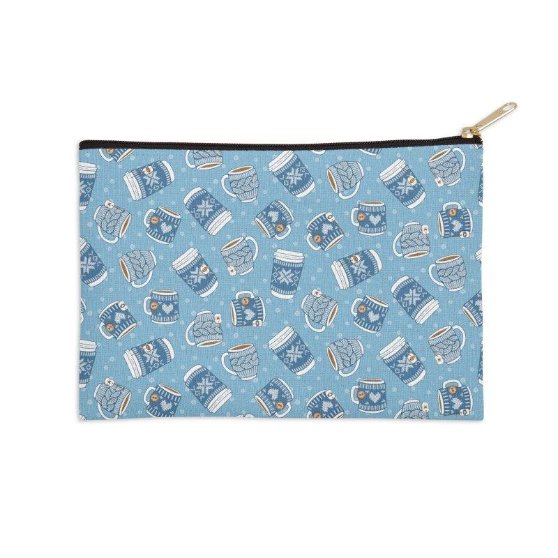 Cozy Blue Mugs Accessories Zip Pouch by MiaValdez's Artist Shop