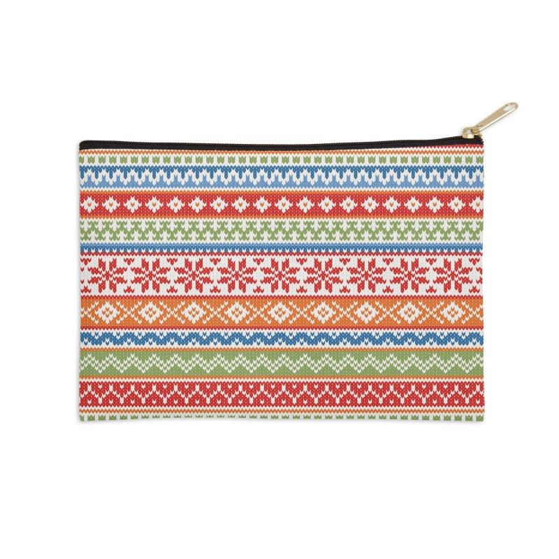 Fair Isle Multicolor Accessories Zip Pouch by MiaValdez's Artist Shop