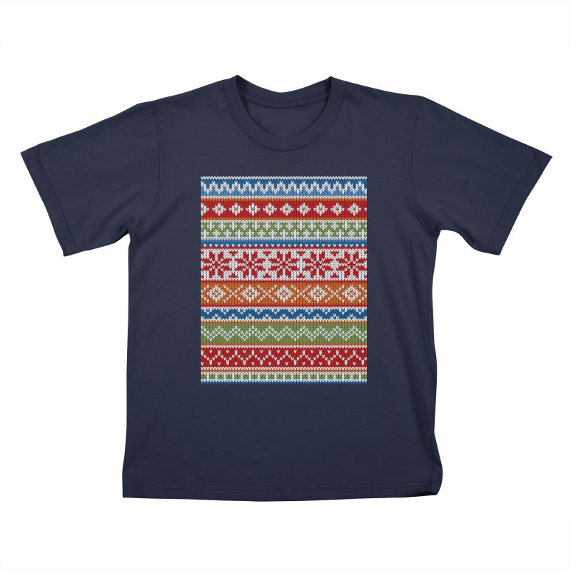 Fair Isle Multicolor Kids T-Shirt by MiaValdez's Artist Shop