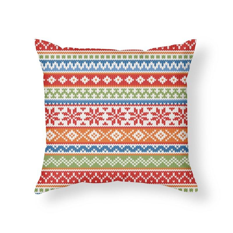 Fair Isle Multicolor Home Throw Pillow by MiaValdez's Artist Shop