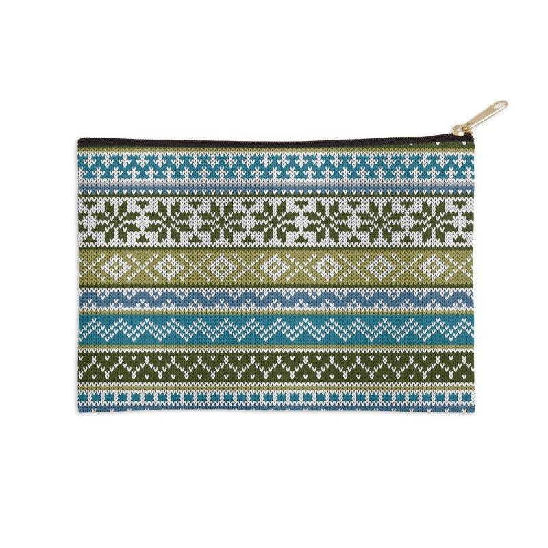 Fair Isle Green - Blue Accessories Zip Pouch by MiaValdez's Artist Shop