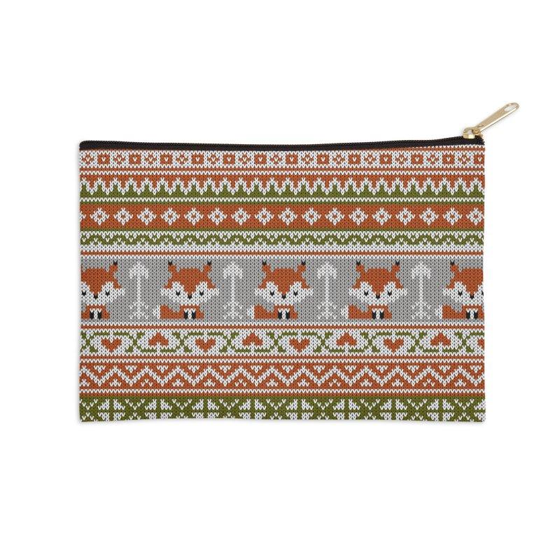 Fair Isle Fox - Green Accessories Zip Pouch by MiaValdez's Artist Shop